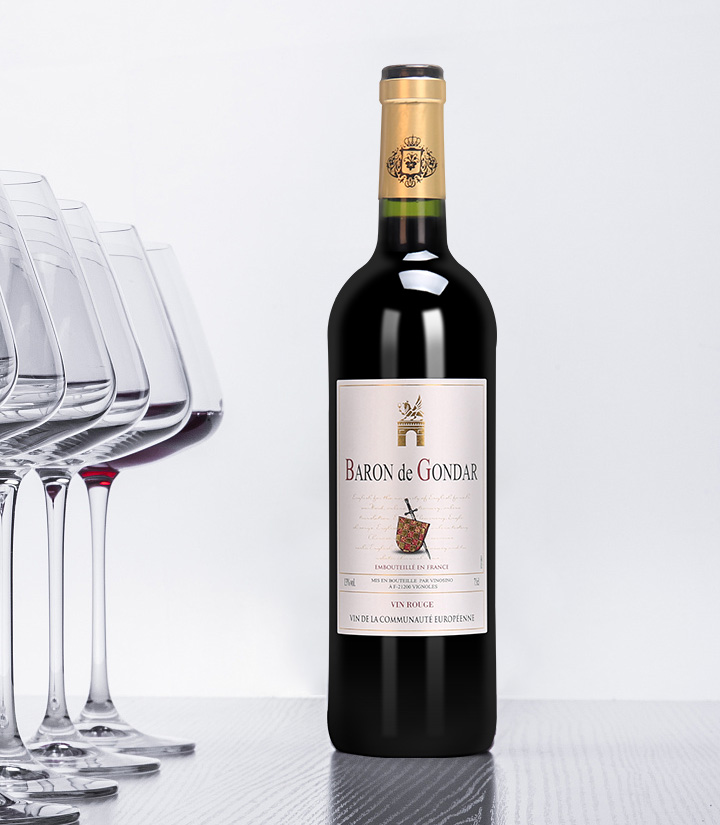 13°法国贡德尔男爵干红葡萄酒750ml
