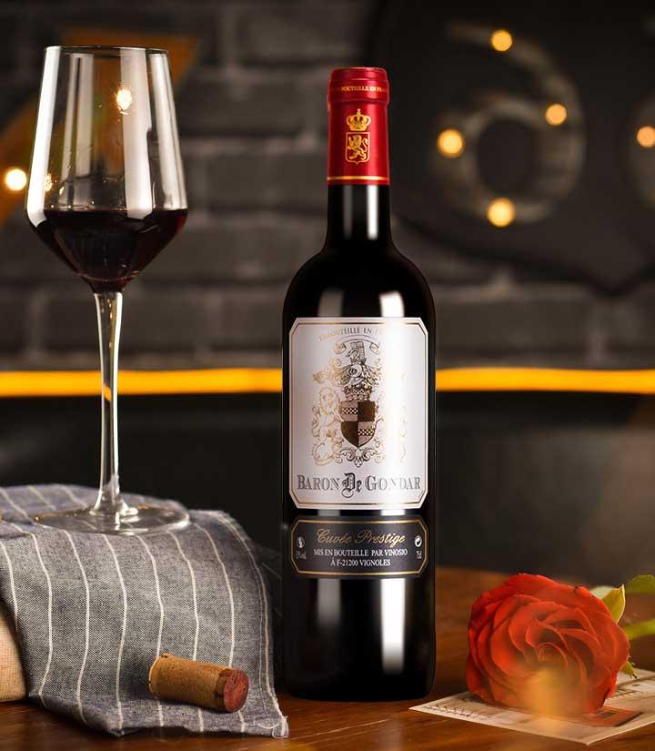 13°法国贡德尔男爵优质干红葡萄酒750ml