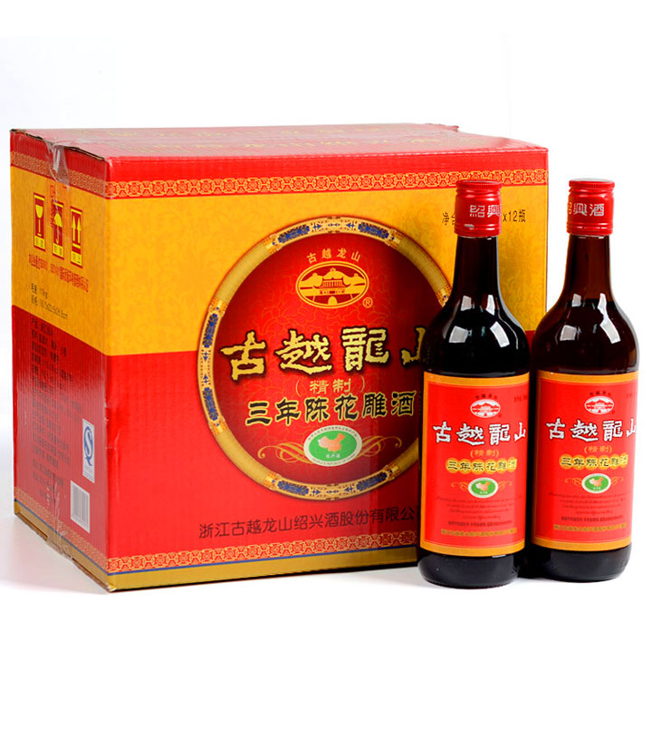古越龙山精制三年陈花雕酒500ml 瓶