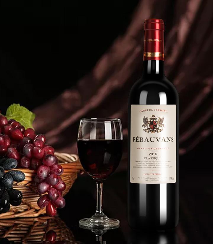 12°法国菲宝梵斯2016干红葡萄酒750ml 件
