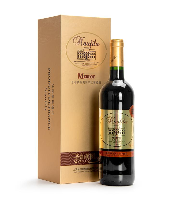 13°法国圣加美图乐菲黄金美乐干红葡萄酒750ml 瓶