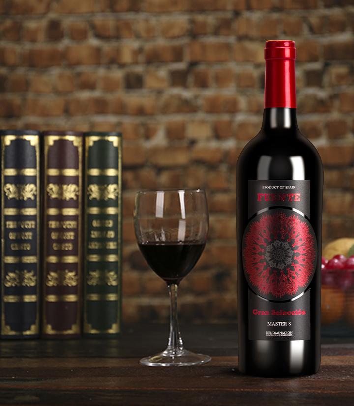 12°西班牙富恩特红标干红葡萄酒750ml 瓶