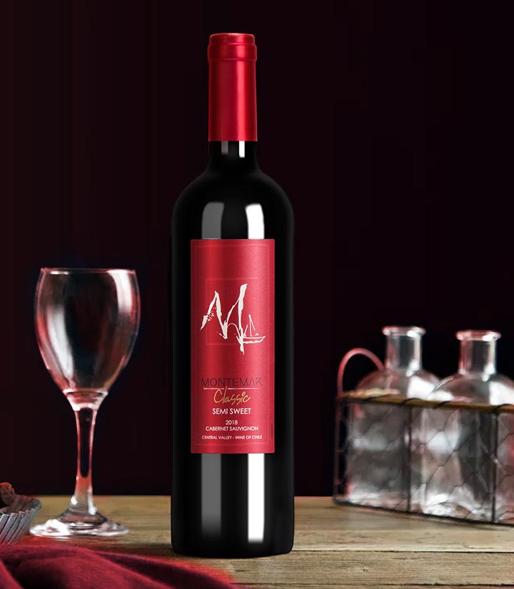 12°智利蒙特玛经典赤霞珠半甜红葡萄酒750ml 件