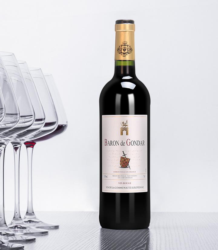 13°法国贡德尔男爵干红葡萄酒750ml 件