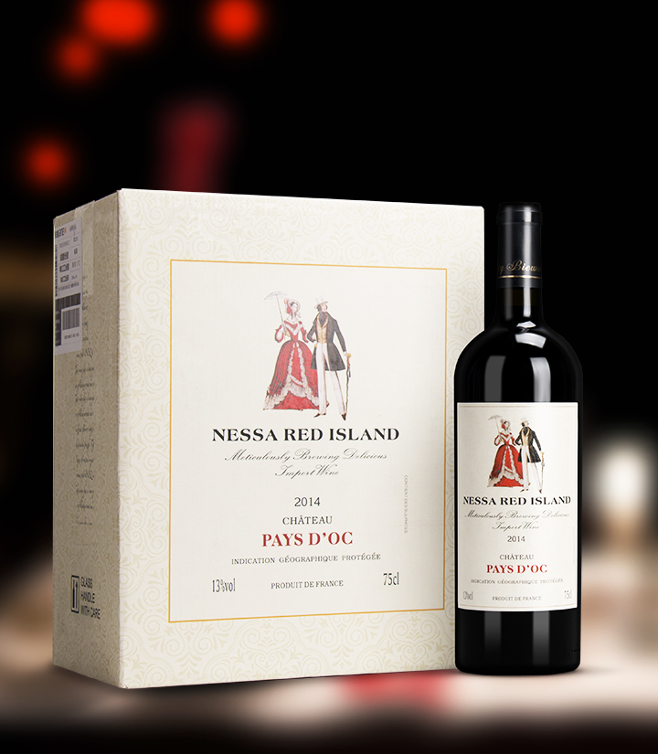 13°法国莎尼红岛干红葡萄酒750ml 件